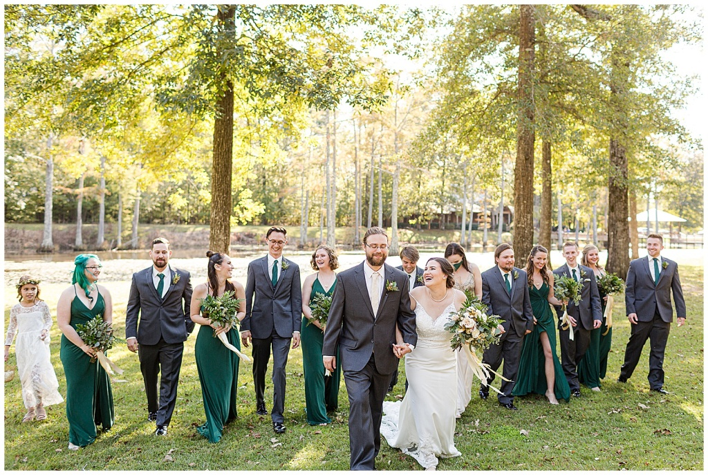green and gold bridal party