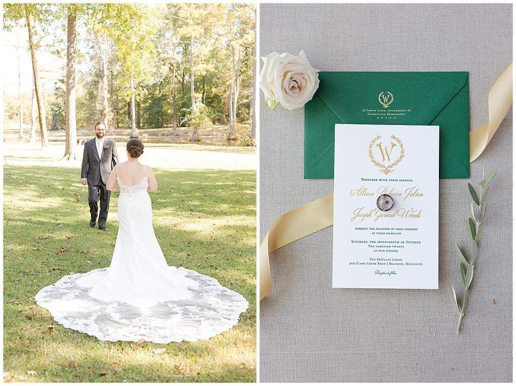 green and gold wedding invitation
