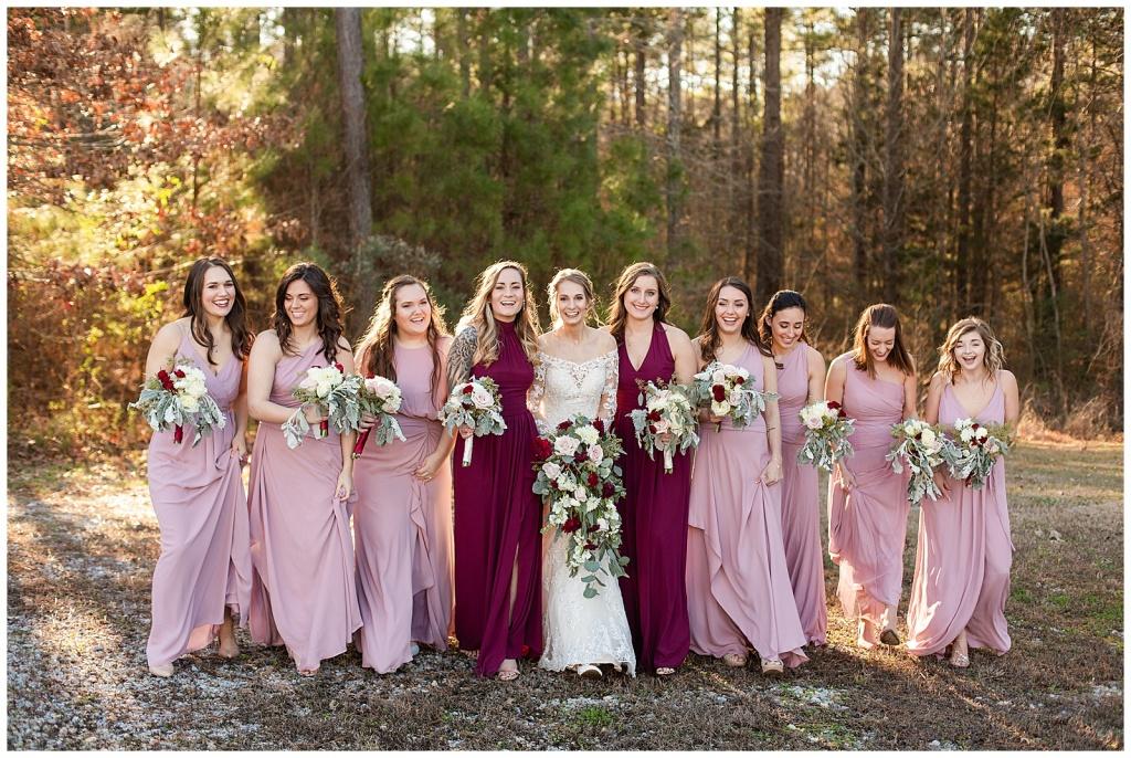 blush and burgundy Bridesmaids