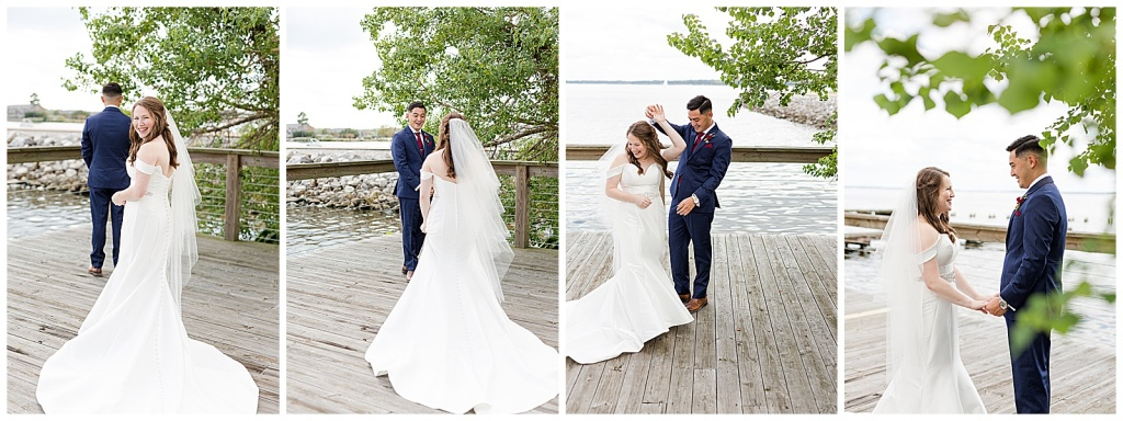 lake house wedding first look
