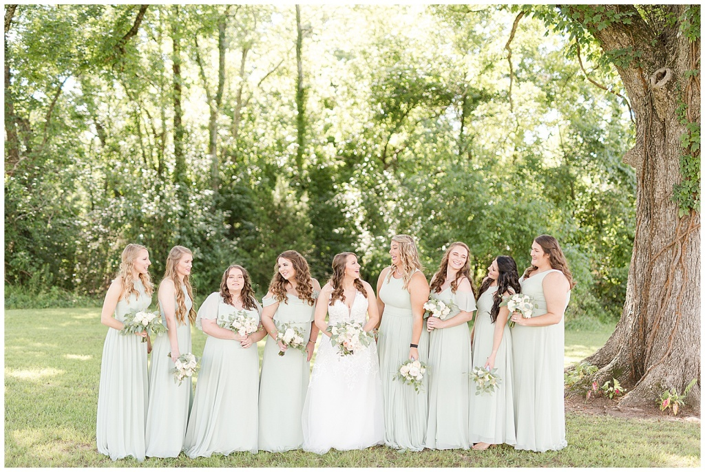 joyful bridal party at dodson farms